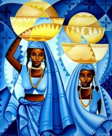 Diamond painting prachtige vrouwen (60x40cm)(full)