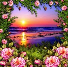 Diamond painting zonsondergang met bloemen (50x50cm)(full)