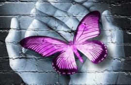 Diamond painting vlinder hand paars (45x30cm)(full)