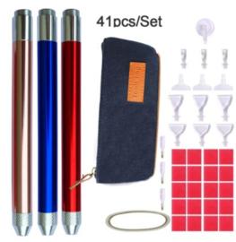 Pennen voor diamond painten met licht met etui en opzetstukjes, was (per stuk)