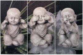 Horen, zien en zwijgen boeddha 3 luik (3x15x30cm)(full)