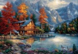 Diamond painting huisje aan het water (80x60cm)(full)