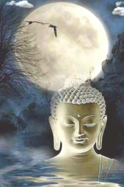 Diamond painting maan boeddha (60x40cm)(full)