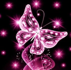 Diamond Painting mooie vlinder roze (50x50cm)full)