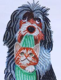 Diamond painting hond en poes (25x20cm)