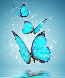 Diamond painting blauwe vlinders (25x20cm)(full)
