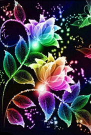 Diamond painting kleur bloemen (60x40cm)(full)