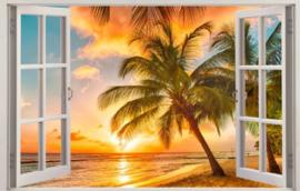 Diamond painting raam uitzicht palmboom (60x40cm)