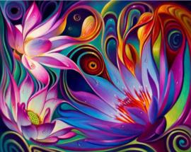 Diamond painting kleur bloemen (50x40cm)