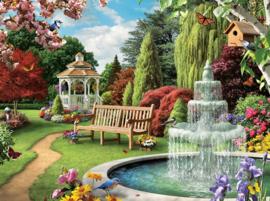Diamond painting tuin met fontein (60x40cm)(full)
