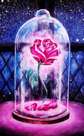 Diamond painting roze roos in stolp (60x45cm)(full)
