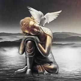 Boeddha met duif (50x50cm)(full)