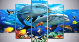 Diamond painting dolfijnen (5 luik)(2x15x23cm)(2x15x30cm)(1x15x38cm)