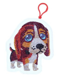 Diamond painting portemonnee (hondje met grote ogen)