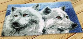 Knoop mat wolven (50x30cm)