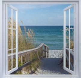 Diamond painting raam uitzicht strand (50x50cm)