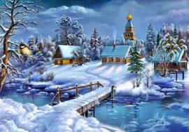 Diamond painting winter landschap (80x60cm)(full)