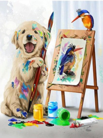 Diamond painting prachtig schilderij hondje (80x60cm)(full)