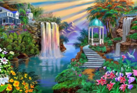 Diamond painting prachtige waterval (80x60cm)(full)