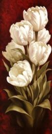 Diamond painting witte bloemen (75x30cm)(full)