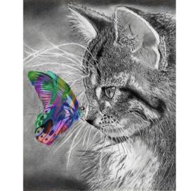 Diamond painting poes met vlinder (60x45cm)(full)