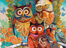 Diamond painting familie uil (50x40cm)(full)