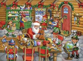 Diamond painting kerstman met elfjes (60x45cm)(full)