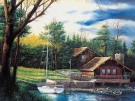 Diamond painting huisje aan het water (60x45cm)(full)