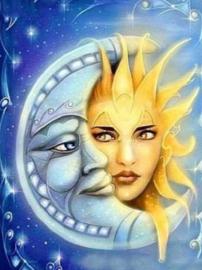 Diamond painting maan en zon (50x40cm)(full)