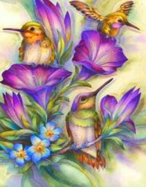 Diamond painting mooie vogeltjes (60x45cm)(full)