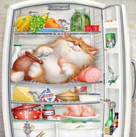 Diamond painting kat in de koelkast (50x50cm)(full)