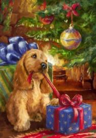 Diamond painting kerst hondje (60x40cm)(full)