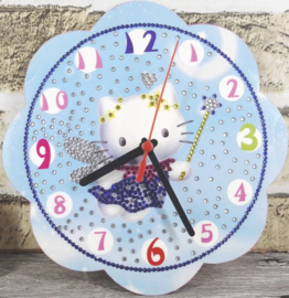 Diamond painting hello kitty klok (blauw)(20x20cm)