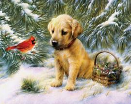 Diamond painting puppy met vogeltje (60x45cm)(full)