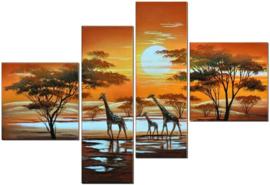 Diamond painting giraffen 4 luik (2x20x20cm)(2x15x48cm)(full)
