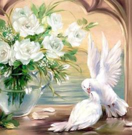 Diamond painting mooie witte duiven (50x50cm)(full)