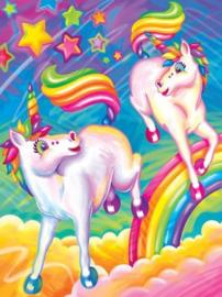 Diamond painting kleurrijke paarden (50x40cm)