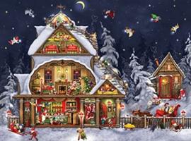 Diamond painting gezellig kerst huisje (80x60cm)(full)