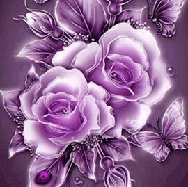 Diamond painting rozen paars (20x20cm)(full)