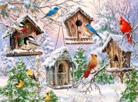 Diamond painting vogelhuisjes met sneeuw (60x45cm)(full)
