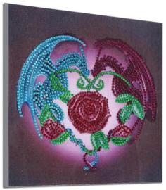 Diamond painting draken roos (20x20cm)