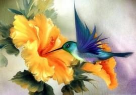 Diamond painting bloemen vogel (60x45cm)(full)