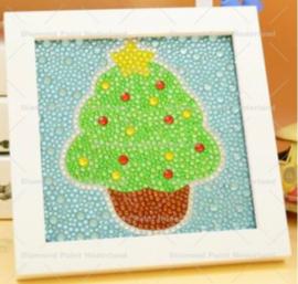 Kerstboom met lijstje 15x15cm (full) met verschillende superglim steentjes