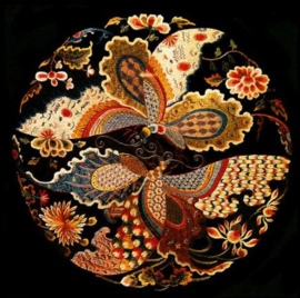 Diamond painting bloem/vlinder bol (50x50cm)(full)