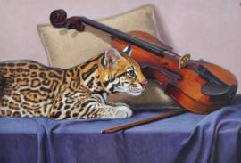 Diamond painting poes met viool (70x50cm)