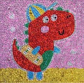 Dino 15 x 15 cm (ronde glimsteentjes)(full)