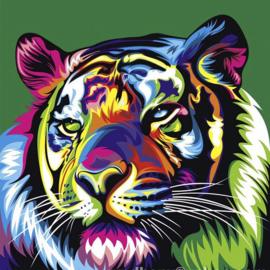 Diamond painting disco tijger (25x25cm)(bijna full)