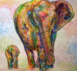 Diamond painting gekleurde olifantjes (50x50cm)(full)