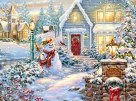 Diamond painting prachtige sneeuwpop (60x45cm)(full)