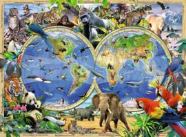 Diamond painting dieren wereldkaart (80x60cm)(full)